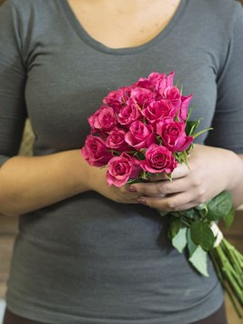 Bouquets:  Dark Pink Roses